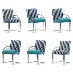 Set of 6 Milo Baughman Style Chrome Frame Dining Chairs in Aqua Blue Chenille