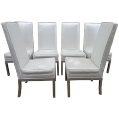 Set of 6 Milo Baughman Thick Chunky Aluminum Dining Chairs Mid-Century Modern