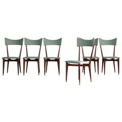 Set of 6 Mint Colored Midcentury Dinning Chairs, in the Manner of Ico Parisi