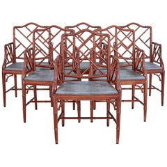 Set of 6 Miranda of Sweden Simulated Bamboo Dining Armchairs