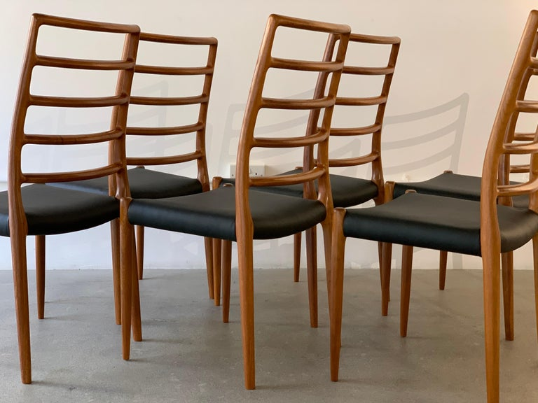 Set of 6 Model 82 Teak and Leather Ladder Back Dining Chairs by Niels O. Møller 4
