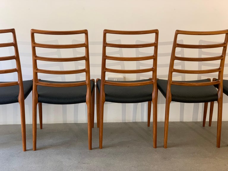 Set of 6 Model 82 Teak and Leather Ladder Back Dining Chairs by Niels O. Møller 5