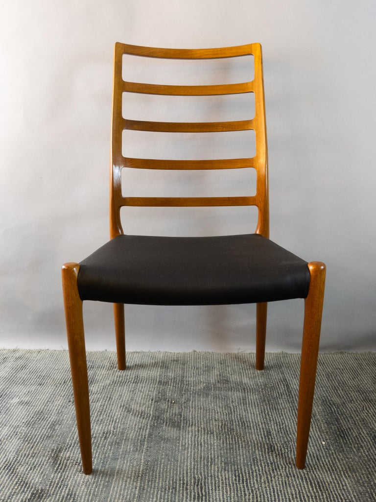 Set of 6 Model 82 Teak and Leather Ladder Back Dining Chairs by Niels O. Møller 6
