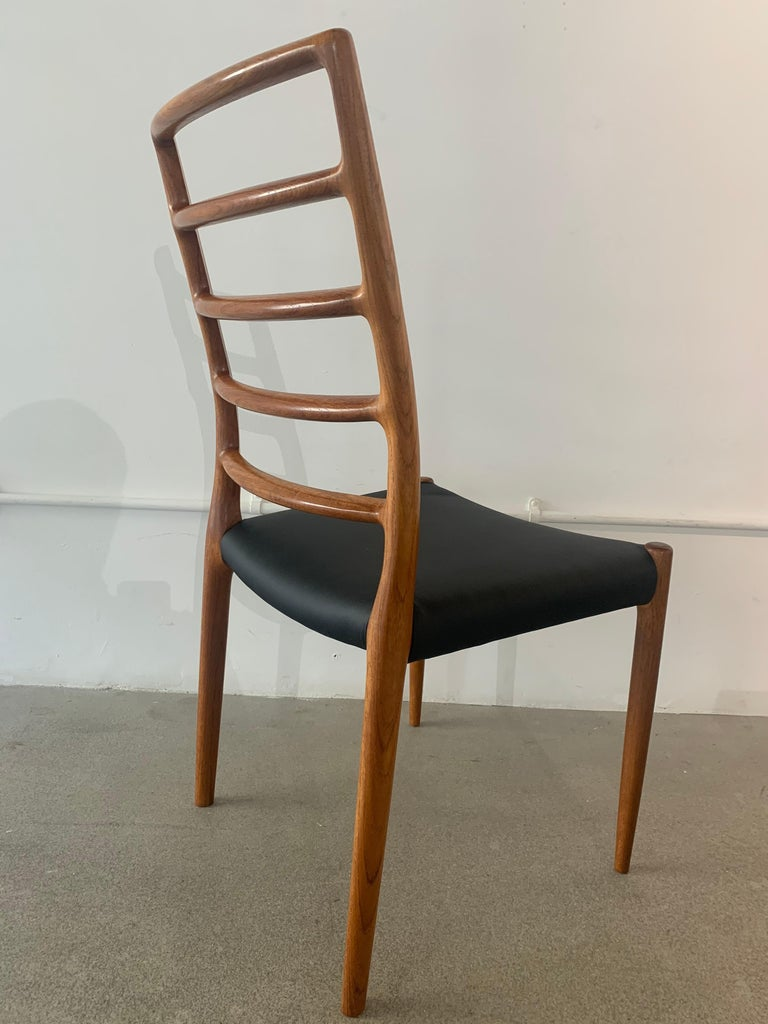 Set of 6 Model 82 Teak and Leather Ladder Back Dining Chairs by Niels O. Møller 7