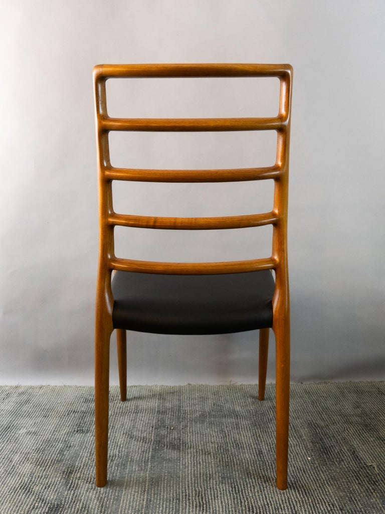 Set of 6 Model 82 Teak and Leather Ladder Back Dining Chairs by Niels O. Møller 8