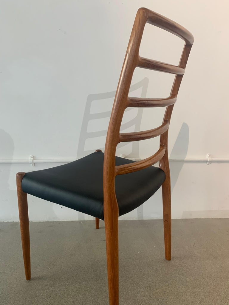 Set of 6 Model 82 Teak and Leather Ladder Back Dining Chairs by Niels O. Møller 10