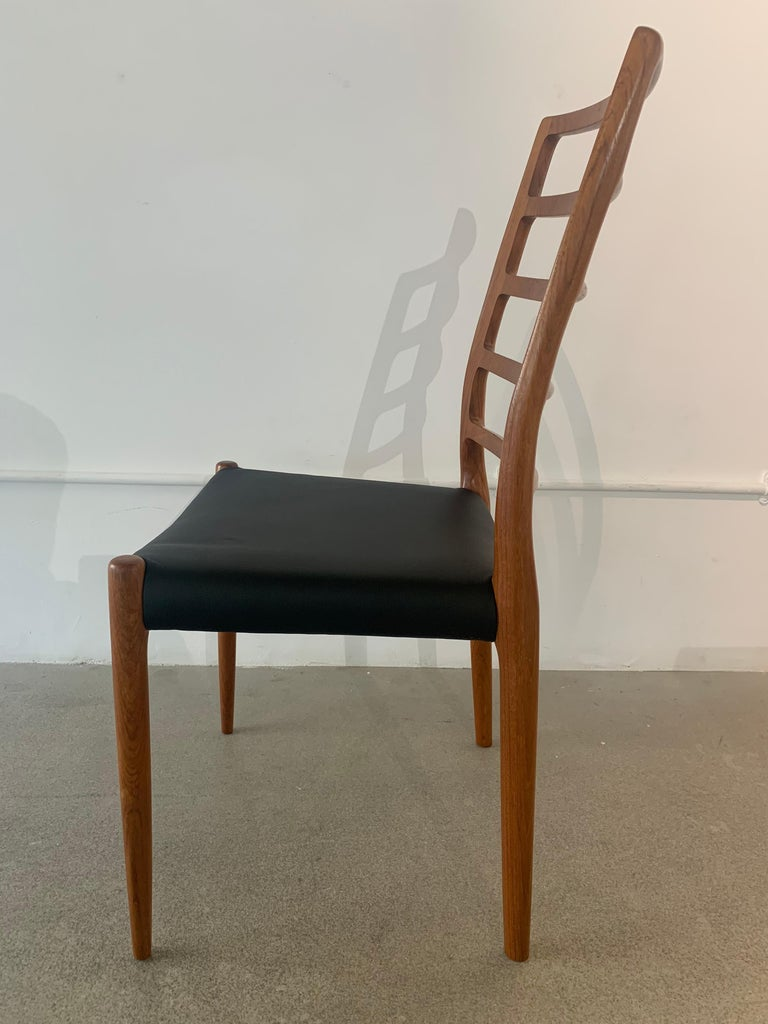 Set of 6 Model 82 Teak and Leather Ladder Back Dining Chairs by Niels O. Møller 11