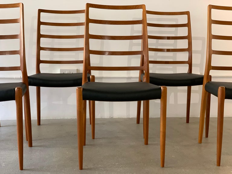 Danish Set of 6 Model 82 Teak and Leather Ladder Back Dining Chairs by Niels O. Møller