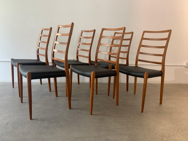 Set of 6 Model 82 Teak and Leather Ladder Back Dining Chairs by Niels O. Møller 1