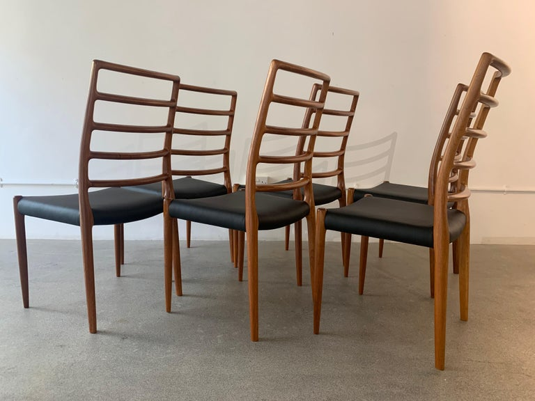 Set of 6 Model 82 Teak and Leather Ladder Back Dining Chairs by Niels O. Møller 2