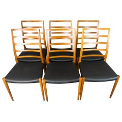 Set of 6 Model 82 Teak and Leather Ladder Back Dining Chairs by Niels O. Møller