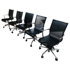 Set of 6 Modern Black Office Chairs, Rolling Swivel, Arms, Alberto Meda Alias