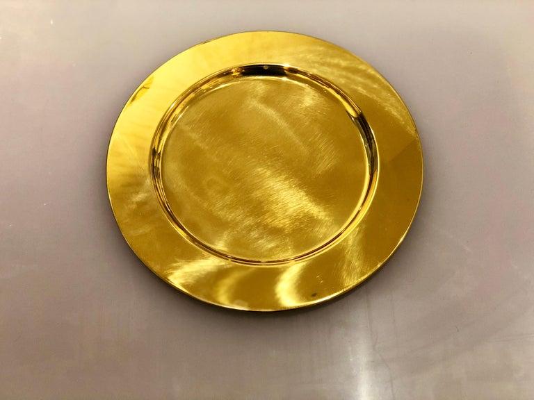 Scandinavian Modern Set of 6 Modern Charger Plates in Brass Made in Denmark For Sale