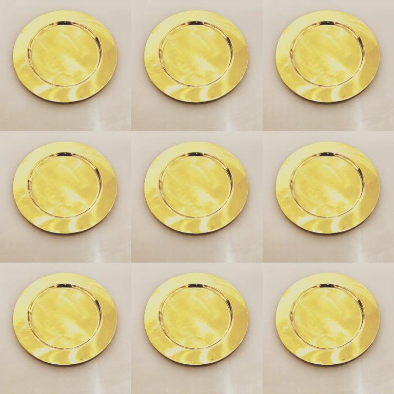 Set of 6 Modern Charger Plates in Brass Made in Denmark For Sale 1