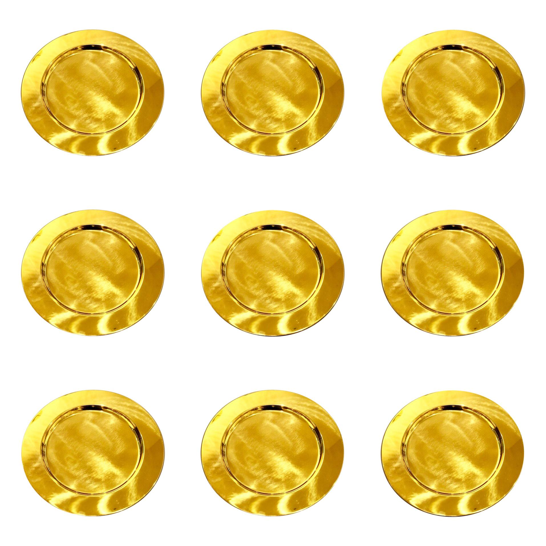 Set of 5 Modern Charger Plates in Brass Made in Denmark