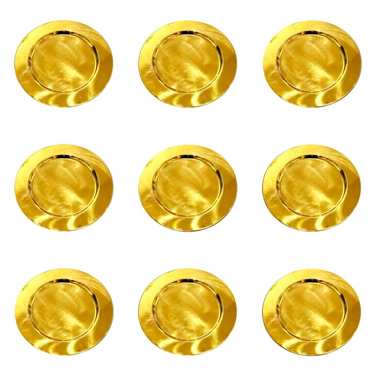Set of 6 Modern Charger Plates in Brass Made in Denmark For Sale