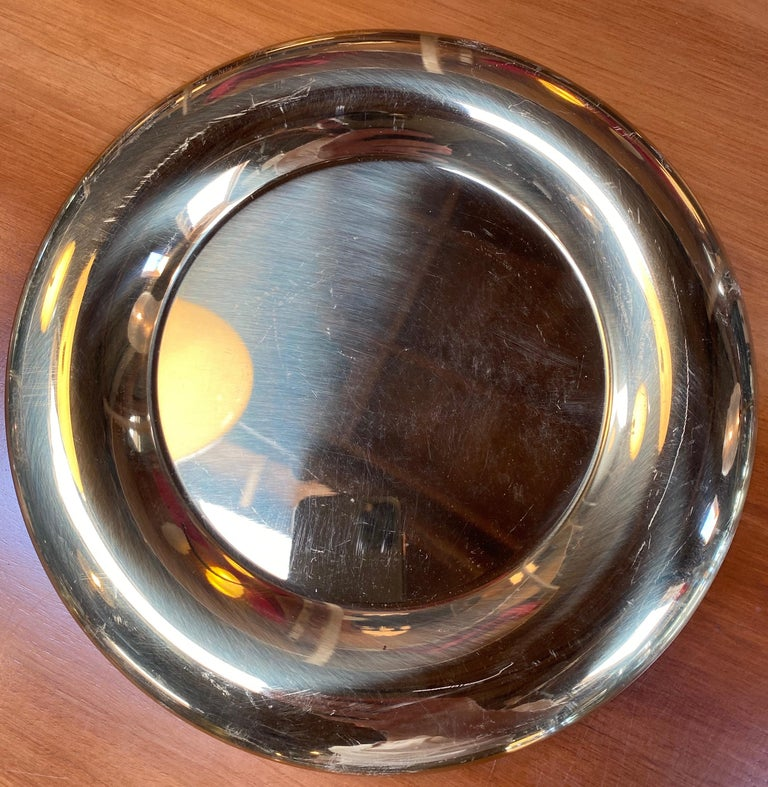 Mid-Century Modern Set of 6 Modern Charger Plates in Brass Made in Italy, 1970s For Sale