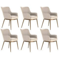 Set of 6, Modern Dining Chairs in Vintage Cream and Brass