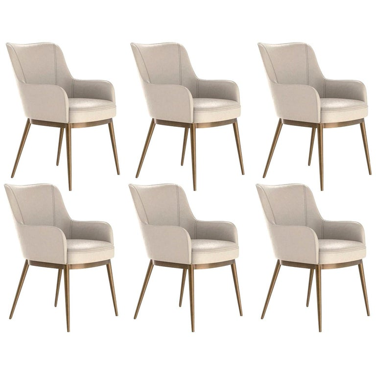 Set of 6, Modern Dining Chairs in Vintage Cream and Brass For Sale