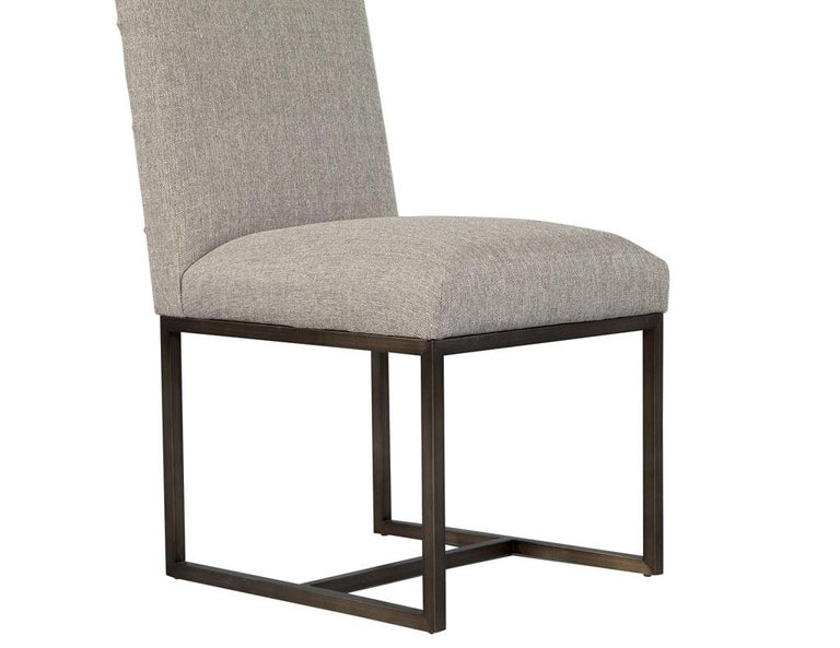 Set of 6 Modern Upholstered Dining Chairs with Brass Accents For Sale 5