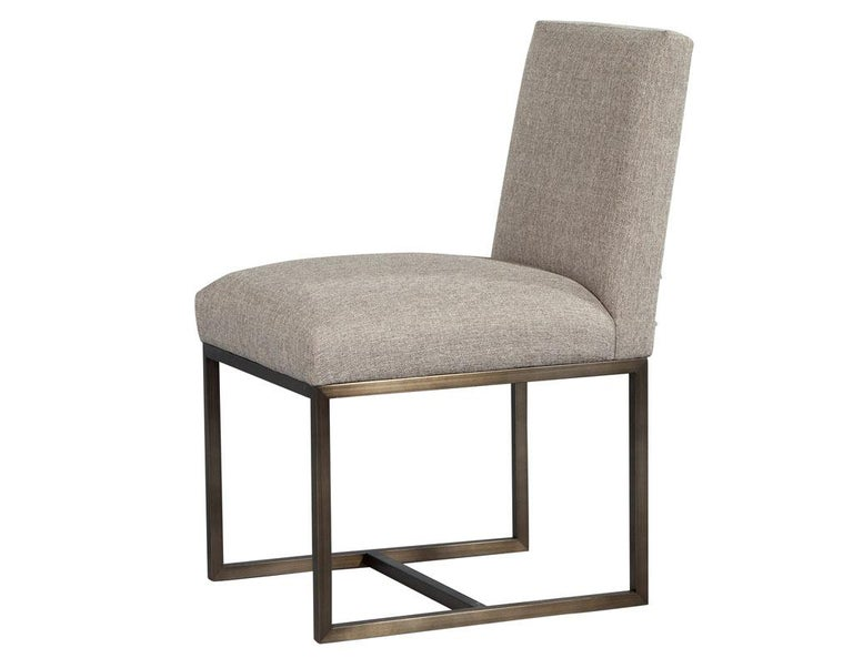 American Set of 6 Modern Upholstered Dining Chairs with Brass Accents For Sale