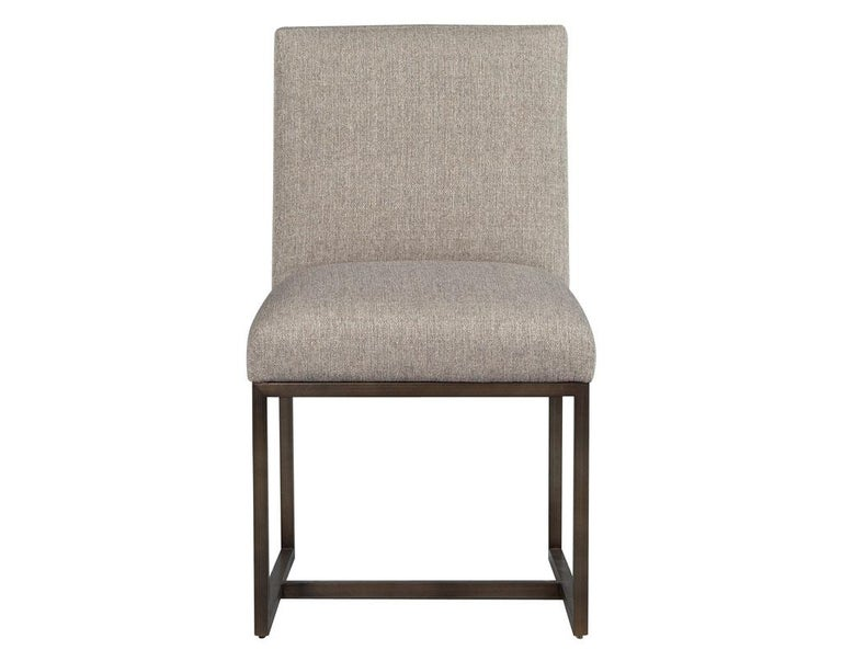 Set of 6 Modern Upholstered Dining Chairs with Brass Accents In New Condition For Sale In North York, ON