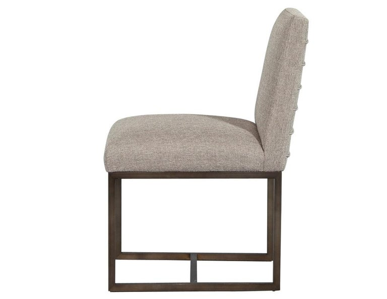 Set of 6 Modern Upholstered Dining Chairs with Brass Accents For Sale 1