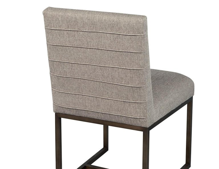 Set of 6 Modern Upholstered Dining Chairs with Brass Accents For Sale 3