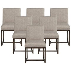 Set of 6 Modern Upholstered Dining Chairs with Brass Accents