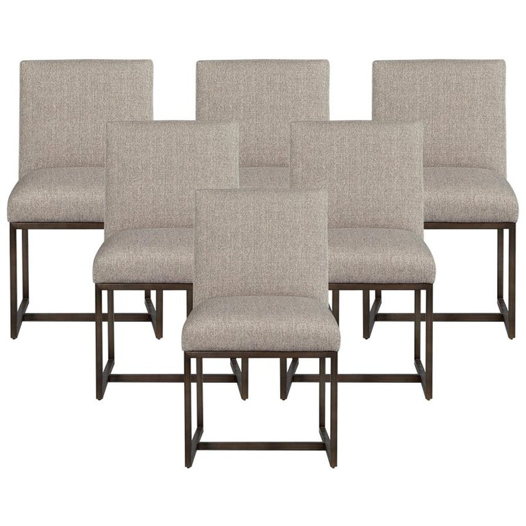 Set of 6 Modern Upholstered Dining Chairs with Brass Accents For Sale