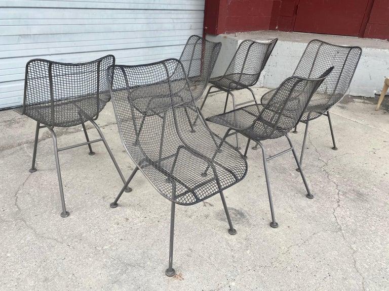 American Set of 6 Modernist Russell Woodard Sculptura Side Chairs, Outdoor Garden For Sale