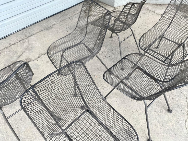 Set of 6 Modernist Russell Woodard Sculptura Side Chairs, Outdoor Garden In Good Condition For Sale In Buffalo, NY