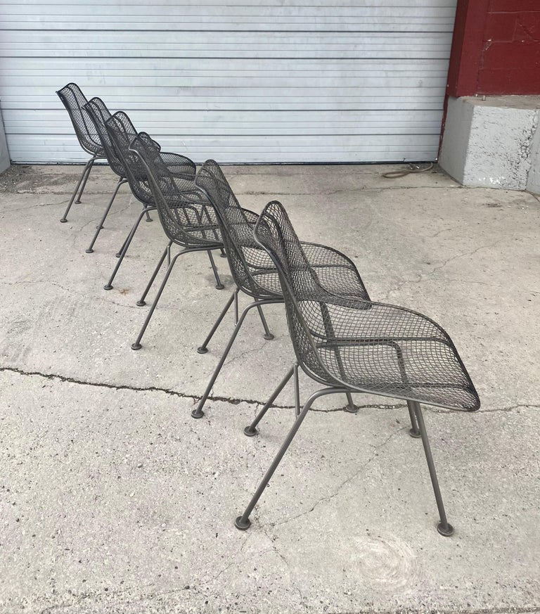 Mid-20th Century Set of 6 Modernist Russell Woodard Sculptura Side Chairs, Outdoor Garden For Sale