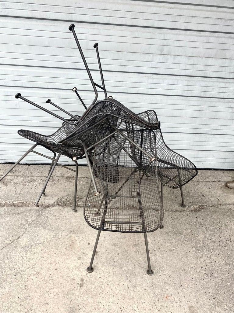 Metal Set of 6 Modernist Russell Woodard Sculptura Side Chairs, Outdoor Garden For Sale