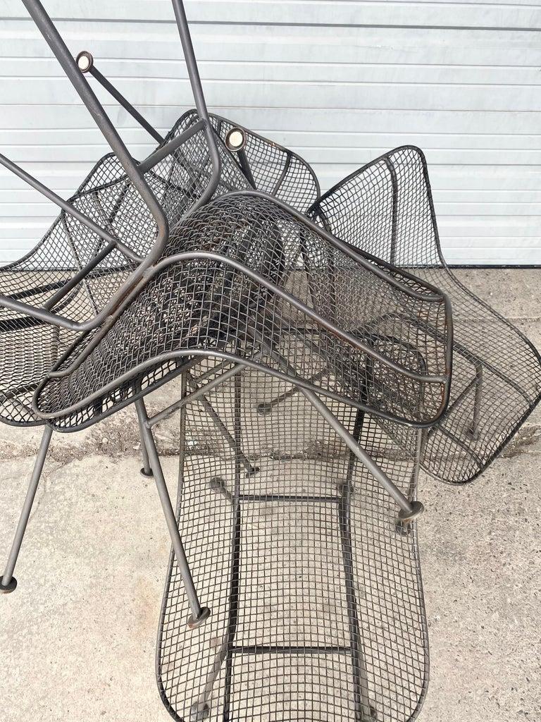 Set of 6 Modernist Russell Woodard Sculptura Side Chairs, Outdoor Garden For Sale 1