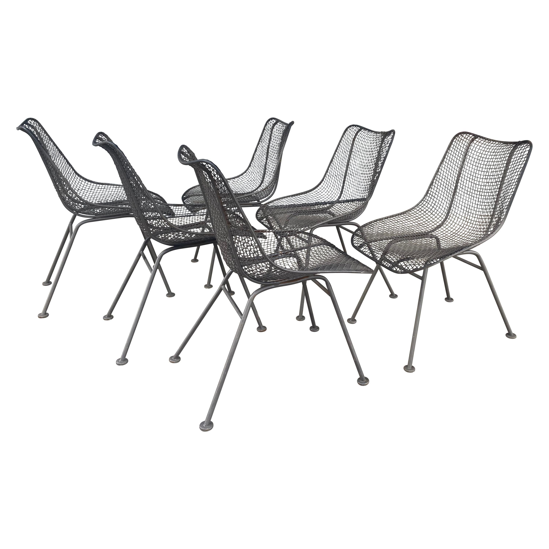 Set of 6 Modernist Russell Woodard Sculptura Side Chairs, Outdoor Garden