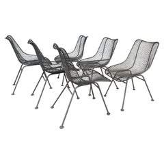 Set of 6 Modernist Russell Woodard Sculptura Side Chairs, Outdoor Garden