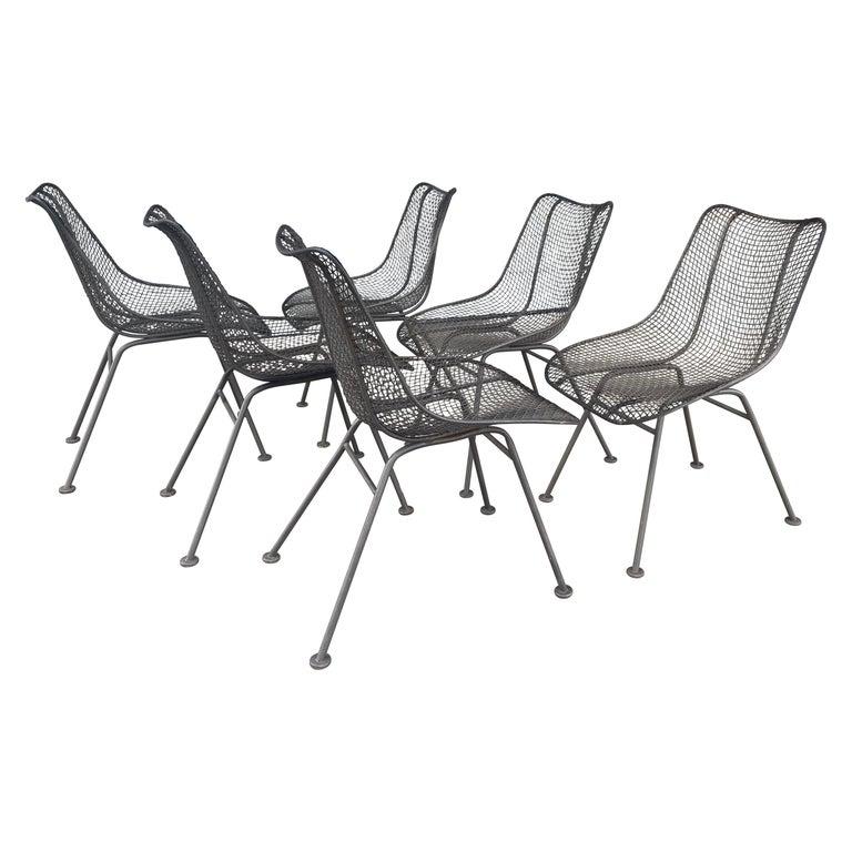 Set of 6 Modernist Russell Woodard Sculptura Side Chairs, Outdoor Garden For Sale