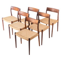 Set of 6 Moller 77 in Rosewood & Papercord