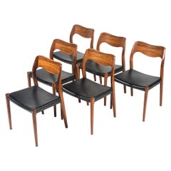 Set of 6 Moller Model 71 Rosewood Dining Chairs in Black Leather