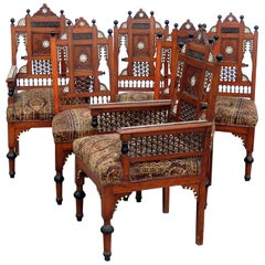 Set of 6 Moroccan Inlaid Dining Chairs