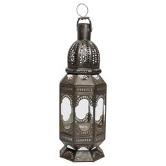 Set of 6 Moroccan Metal and Clear Glass Candle Lanterns