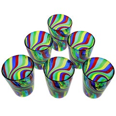 Set of 6 Murano Art Glass Tumblers, Doppio Ritorto Amazing Technique, Signed