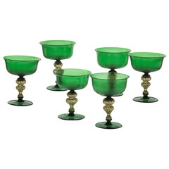 Set of 6 Murano Glass Deep Champagne Cups, Green Rigadin and Gold Leaf, Seguso
