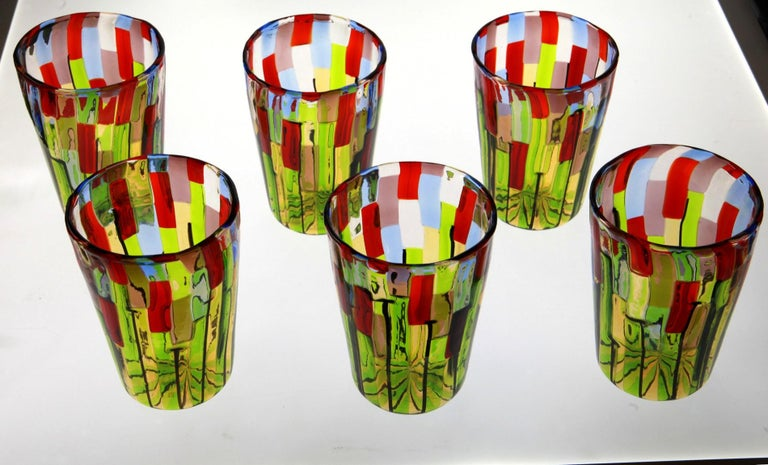 Murano Glass Tumbler, Blooming Field with Poppies and Lavender, unit price For Sale 3