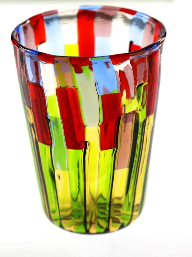 Murano Glass Tumbler, Blooming Field with Poppies and Lavender, unit price For Sale 4