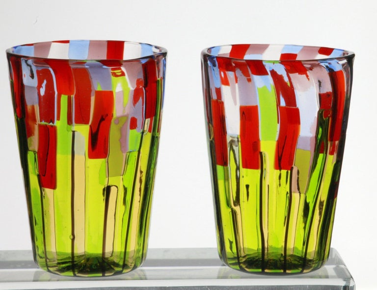 Murano Glass Tumbler, Blooming Field with Poppies and Lavender, unit price For Sale 5