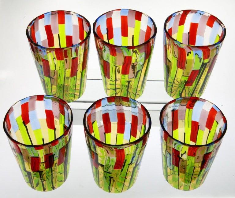 Murano Glass Tumbler, Blooming Field with Poppies and Lavender, unit price For Sale 6