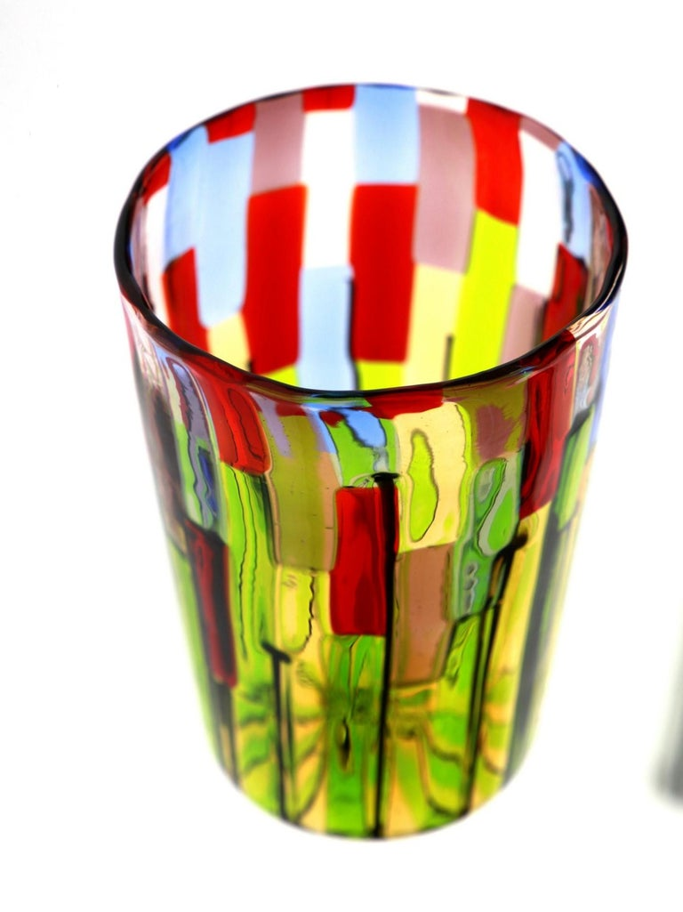 Murano Glass Tumbler, Blooming Field with Poppies and Lavender, unit price For Sale 8