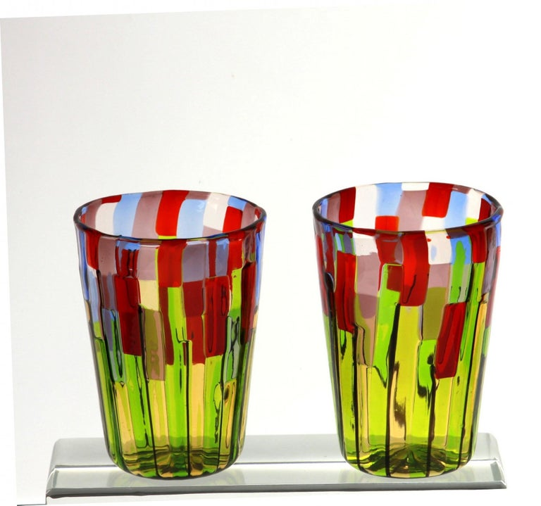 Murano Glass Tumbler, Blooming Field with Poppies and Lavender, unit price For Sale 9